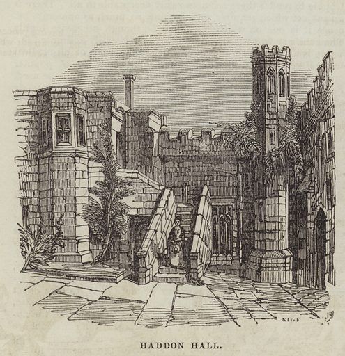 Haddon Hall. Illustration for The Illustrated London News, 6 August 1842.