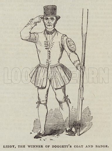 Liddy, the Winner of Doggett's Coat and Badge. Illustration for The Illustrated London News, 6 August 1842.