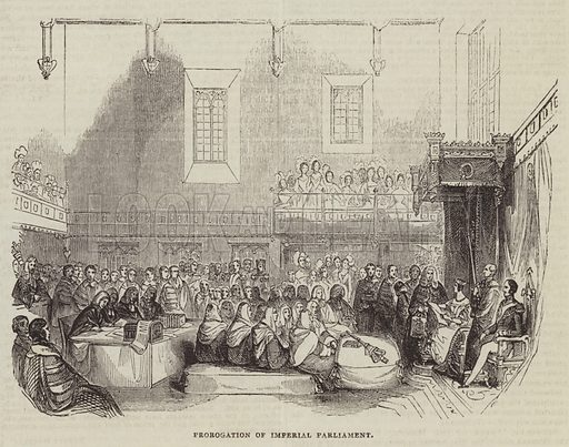 Prorogation of Imperial Parliament. Illustration for The Illustrated London News, 13 August 1842.