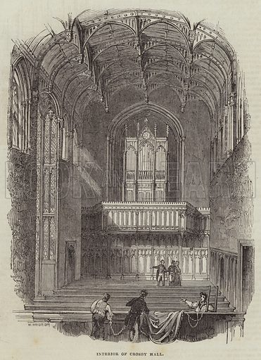 Interior of Crosby Hall. Illustration for The Illustrated London News, 27 August 1842.