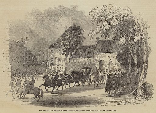The Queen and Prince Albert leaving Drummond-Castle, View in the Court-Yard. Illustration for The Illustrated London News, 24 September 1842.