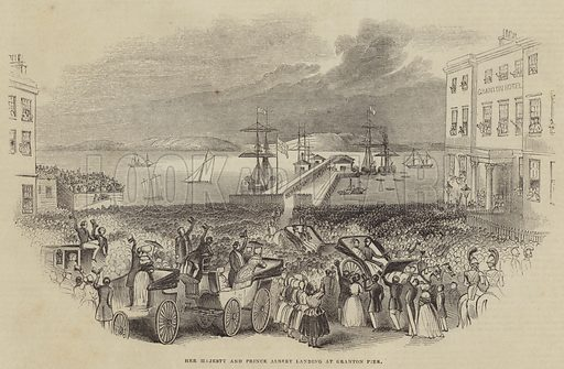 Her Majesty and Prince Albert landing at Granton Pier. Illustration for The Illustrated London News, 24 September 1842.