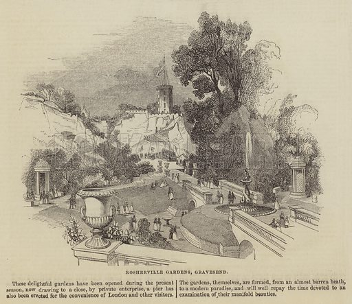 Rosherville Gardens, Gravesend. Illustration for The Illustrated London News, 1 October 1842.