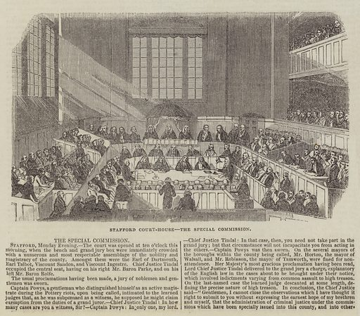 Stafford Court-House, the Special Commission. Illustration for The Illustrated London News, 8 October 1842.