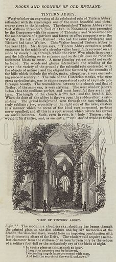 View of Tintern Abbey. Illustration for The Illustrated London News, 15 October 1842.