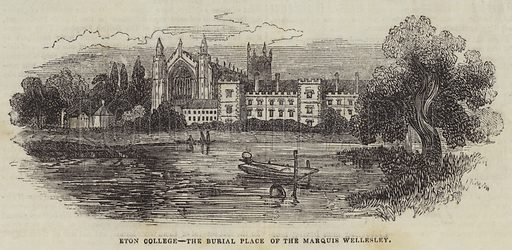 Eton College, the Burial Place of the Marquis Wellesley. Illustration for The Illustrated London News, 15 October 1842.