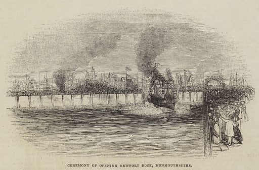 Ceremony of Opening Newport Dock, Monmouthshire. Illustration for The Illustrated London News, 22 October 1842.