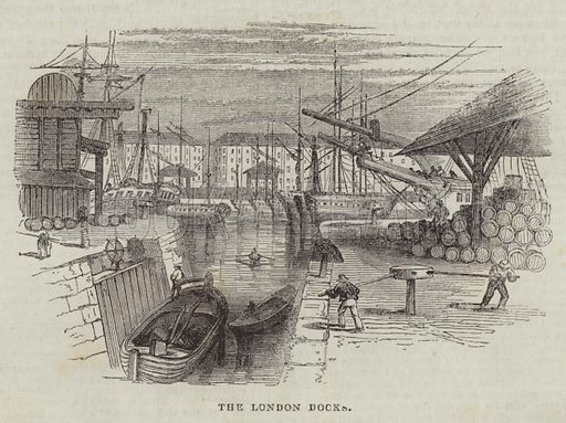 The London Docks. Illustration for The Illustrated London News, 29 October 1842.