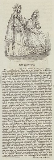 The Fashions. Illustration for The Illustrated London News, 5 November 1842.
