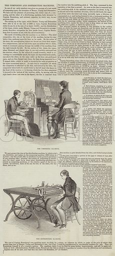 The Composing and Distributing Machines. Illustration for The Illustrated London News, 5 November 1842.