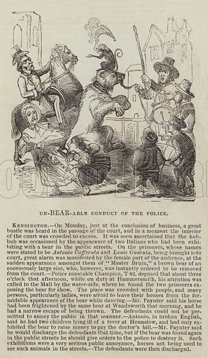 Unbearable Conduct of the Police. Illustration for The Illustrated London News, 5 November 1842.