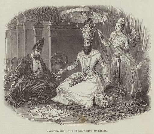 Mahmoud Shah, the Present King of Persia. Illustration for The Illustrated London News, 26 November 1842.