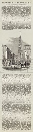 St Bride's Church, Fleet-Street. Illustration for The Illustrated London News, 3 December 1842.