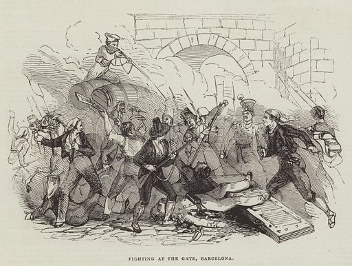 Fighting at the Gate, Barcelona. Illustration for The Illustrated London News, 3 December 1842.
