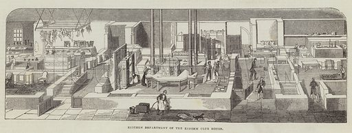 Kitchen Department of the Reform Club House. Illustration for The Illustrated London News, 3 December 1842.