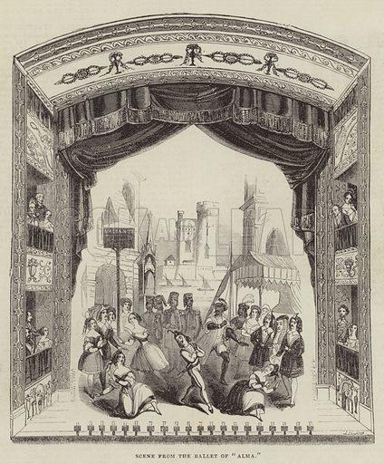 "Scene from the Ballet of ""Alma"". Illustration for The Illustrated London News, 10 December 1842."