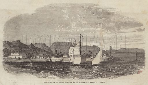 Bassadore, on the Island of Kishim, in the Persian Gulf. Illustration for The Illustrated London News, 10 January 1857.