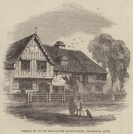 Portion of an Old Broadcloth Manufactory, Cranbrook, Kent. Illustration for The Illustrated London News, 17 January 1857.