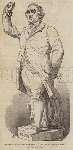 Statue of Charles James Fox, in St Stephen's Hall, Baily, Sculptor. Illustration for The Illustrated London News, 24 January 1857.