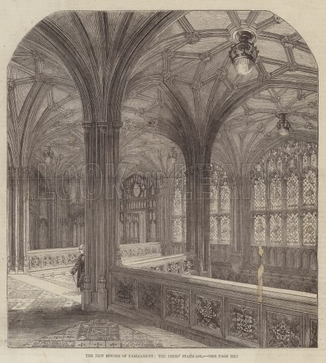 The New Houses of Parliament, the Peers' Staircase. Illustration for The Illustrated London News, 7 February 1857.