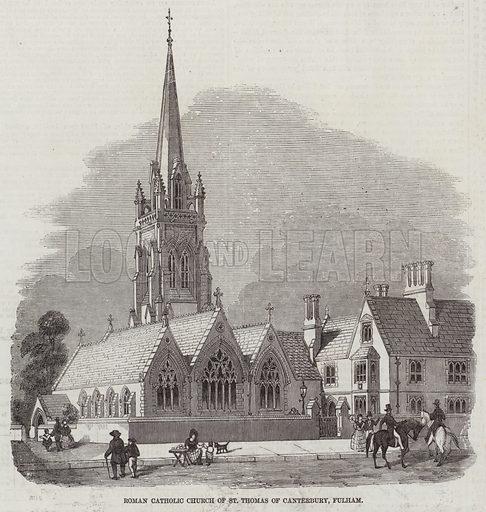 Roman Catholic Church of St Thomas of Canterbury, at Fulham. Illustration for The Illustrated London News, 14 February 1857.