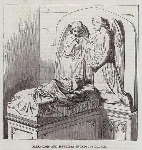 Altar-Tomb and Sculptures in Ledbury Church. Illustration for The Illustrated London News, 14 February 1857.