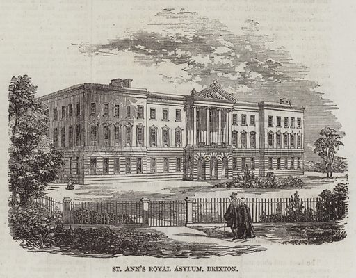 St Ann's Royal Asylum, Brixton. Illustration for The Illustrated London News, 21 February 1857.