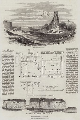 The Ancient and Ruined City of Brahmunabad, in Sind. Illustration for The Illustrated London News, 28 February 1857.