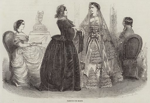 Fashions for March. Illustration for The Illustrated London News, 28 February 1857.