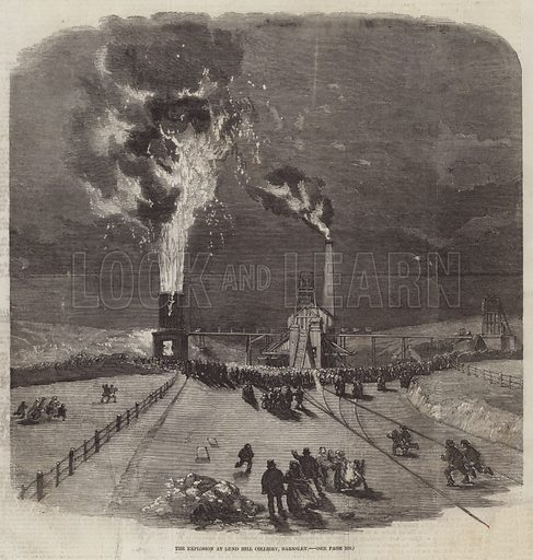 The Explosion at Lund Hill Colliery, Barnsley. Illustration for The Illustrated London News, 7 March 1857.