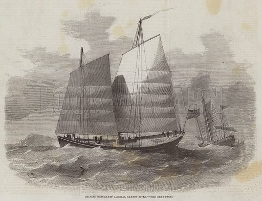 Chinese Merchants' Lorchas, Canton River. Illustration for The Illustrated London News, 14 March 1857.