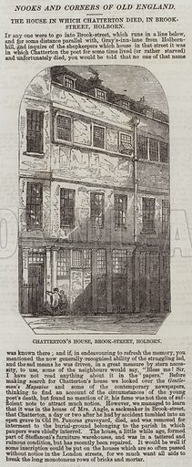 The House in which Chatterton died, in Brook-Street, Holborn. Illustration for The Illustrated London News, 21 March 1857.