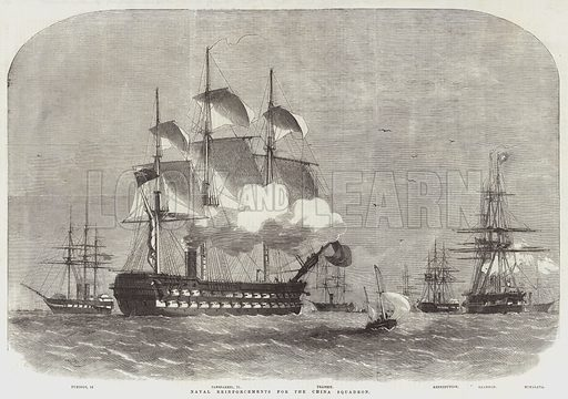 Naval Reinforcements for the China Squadron. Illustration for The Illustrated London News, 28 March 1857.