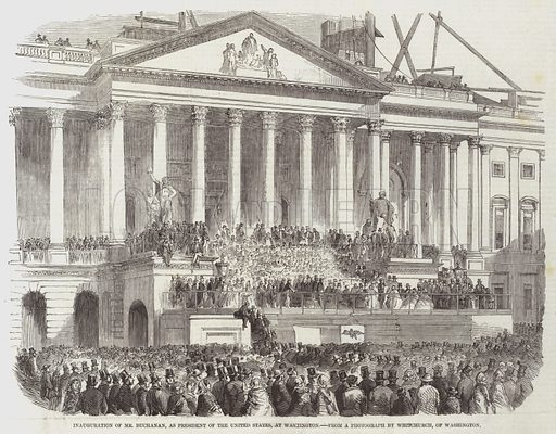 Inauguration of Mr Buchanan, as President of the United States, at Washington. Illustration for The Illustrated London News, 28 March 1857.