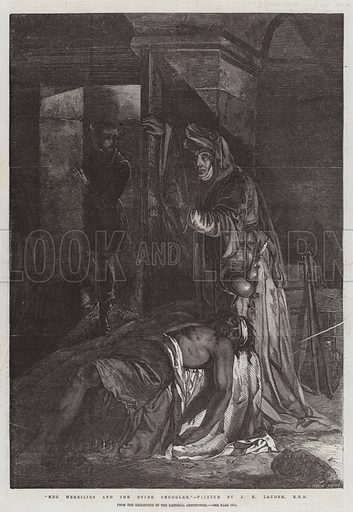 """""""Meg Merrilies and the Dying Smuggler,"""" from the Exhibition of the National Institution. Illustration for The Illustrated London News, 4 April 1857."""