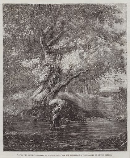 """Over the Brook,"" from the Exhibition of the Society of British Artists. Illustration for The Illustrated London News, 11 April 1857."