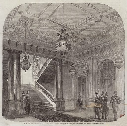 Hall and Great Staircase of the New Junior United Service Club-House, Charles-Street, St James's. Illustration for The Illustrated London News, 18 April 1857.