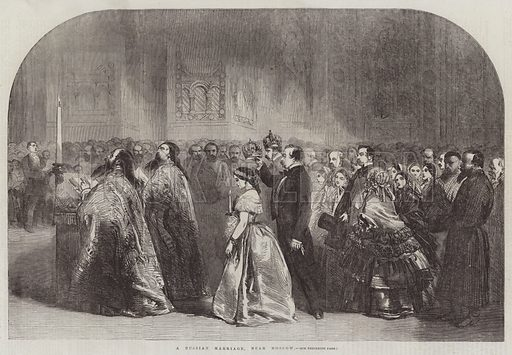 A Russian Marriage, near Moscow. Illustration for The Illustrated London News, 18 April 1857.