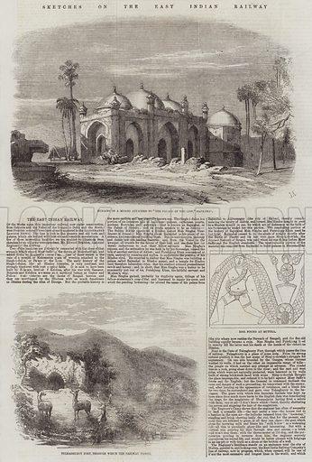 Sketches on the East Indian Railway. Illustration for The Illustrated London News, 18 April 1857.