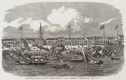The Foreign Factories at Canton, recently destroyed. Illustration for The Illustrated London News, 18 April 1857.