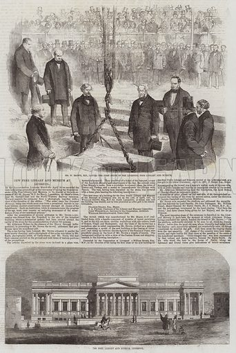 New Free Library and Museum at Liverpool. Illustration for The Illustrated London News, 2 May 1857.