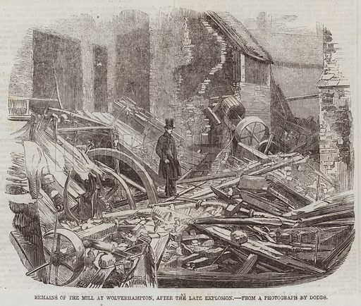Remains of the Mill at Wolverhampton, after the late Explosion. Illustration for The Illustrated London News, 2 May 1857.