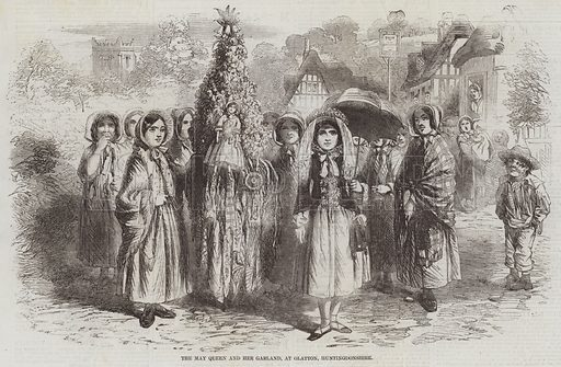 The May Queen and her Garland, at Glatton, Huntingdonshire. Illustration for The Illustrated London News, 2 May 1857.