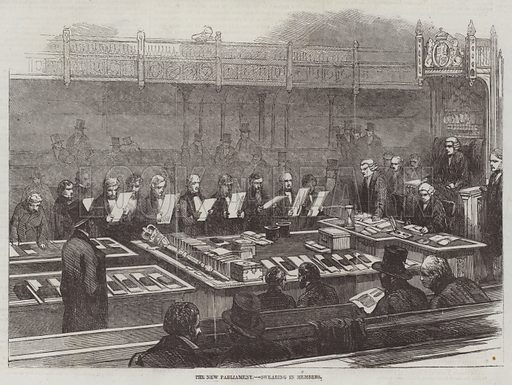 The New Parliament, Swearing In Members. Illustration for The Illustrated London News, 9 May 1857.
