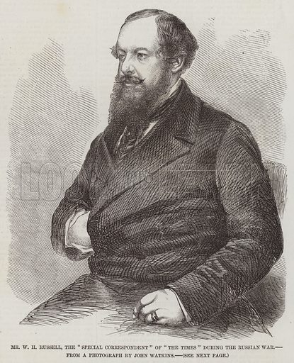 "Mr W H Russell, the ""Special Correspondent"" of ""The Times"" during the Russian War. Illustration for The Illustrated London News, 16 May 1857."