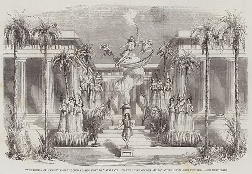 """""""The Temple of Hymen,"""" from the New Classic Story of Atalanta, or, The Three Golden Apples,"""" at the Haymarket Theatre. Illustration for The Illustrated London News, 16 May 1857."""