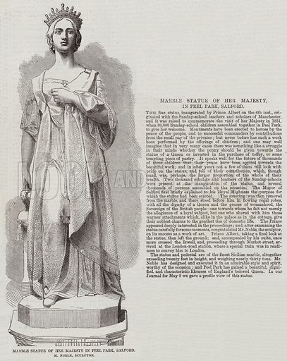 Marble Statue of Her Majesty in Peel Park, Salford, M Noble, Sculptor. Illustration for The Illustrated London News, 23 May 1857.