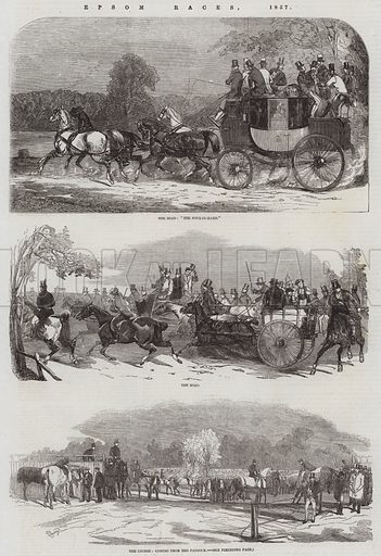 Epsom Races, 1857. Illustration for The Illustrated London News, 30 May 1857.