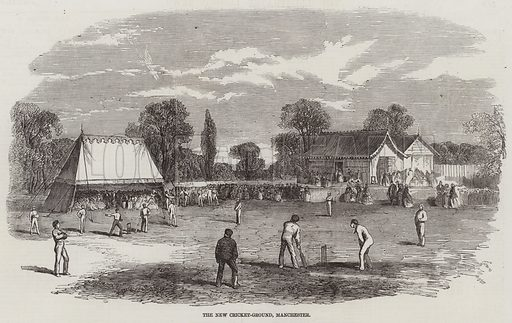 The New Cricket-Ground, Manchester. Illustration for The Illustrated London News, 13 June 1857.
