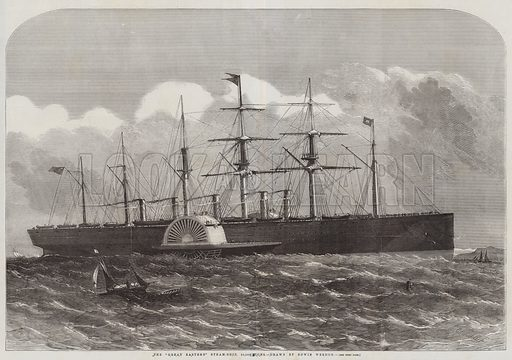 """The """"Great Eastern"""" Steam-Ship, 22,500 Tons. Illustration for The Illustrated London News, 13 June 1857."""